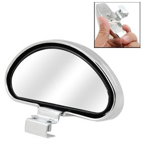 Silver Tone Wide Angle Viewing Blind Spot Mirror Auxiliary Rearview Mirror