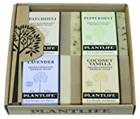 Aromatherapy Herbal Soap Top 4 Pack Soap Combo-Earth Gift Set (Patchouli, Peppermint, Lavender, and Coconut Vanilla) by Plantlife