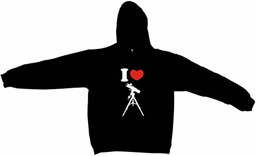 I Heart Love Telescope Silhouette Men's Hoodie Sweat Shirt Small, Black
