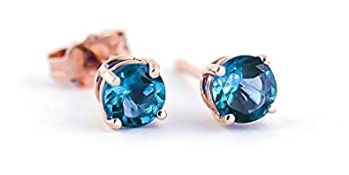 QP Jewellers Natural Blue Topaz Stud Earrings in 9ct Rose Gold, 0.95ct Round Cut - 1951R
