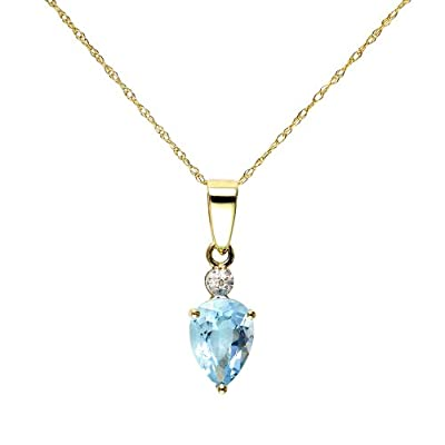 Ivy Gems 9ct Yellow Gold Blue Topaz and Diamond Tear Drop Pendant with 46cm Prince of Wales Chain