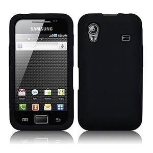 Black Soft Silicone Case for Samsung S5830 Galaxy Ace (GT-S5830 / S5830T / S5830i) - Back Rubber Phone Cover + 2 Screen Protectors