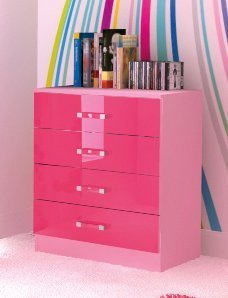 Chest of 4 Drawers in Two Tone Pink High Gloss       review and more information