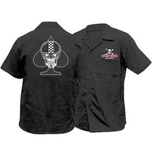 Lethal Threat Designs Spade Biker Skull Workshirt - 2X-Large/Black