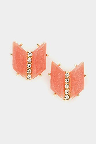Karmas Canvas Chevron With Crystal Lined Post Earring (Coral)