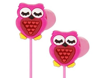 Ankit Toons Pink Owl Ergonomic Noise-Isolating Earphones