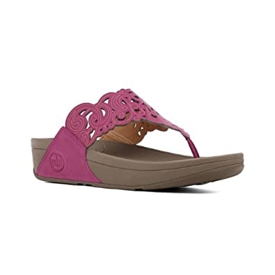 Fitflop Ladies Flora Pink Leather Sandals Size 4
