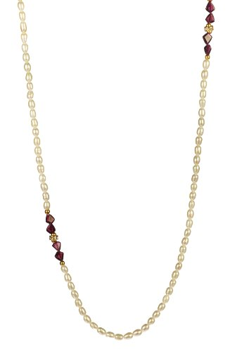 White Rice Freshwater Cultured Pearls with Off-Set Diamond Shaped Garnet and Rondelles Accents Gold Over Silver Endless Necklace 50