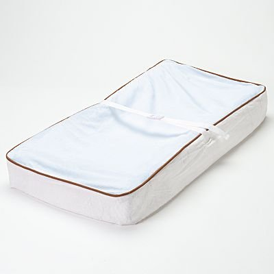 Bacati - Velor Blue/White/Chocolate Plush Changing Pad Cover
