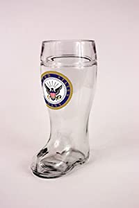 United States Navy Glass One Liter Beer Boot