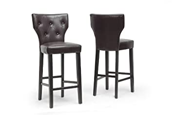 Billings Dark Brown Modern Bar Stool with Chanasya Polish Cloth Bundle (Set of Two)