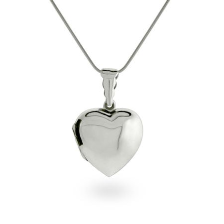 Sterling Silver Plain Puffed Heart Locket Length 16 inches (Lengths 16 inches 18 inches Available)