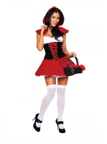 3pc Red Hot Riding Hood Includes Dress, Waist Cincher with Lace-Up Detail & C...