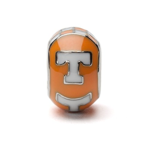 Tennessee Vols Orange and White T Bead Charm Fits Pandora
