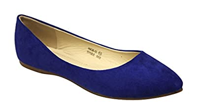 Bella marie Angie-53 Women's Classic Pointy Toe Ballet PU Slip On Suede Flats