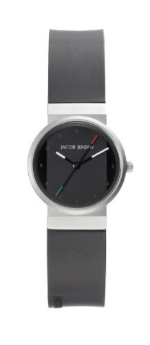Jacob Jensen New Series Women's Quartz Watch with Black Dial Analogue Display and Black Rubber Strap 742