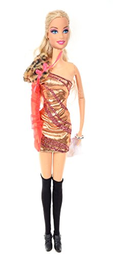 Banana Kong Doll's Stylish One Shoulder Slim Evening Party Dress Set - 1