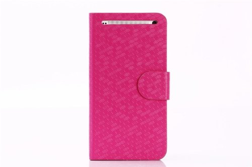 Helpyou Hot Pink Htc M7 New Luxury Diamond Pattern Flip Stand Wallet Leather Case With Credit Card Holder Cover For Htc One M7 back-57456