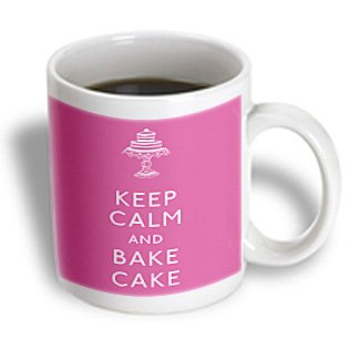 Evadane - Funny Quotes - Keep Calm And Bake Cake. Pink. - Mugs - 11Oz Mug - Mug_194319_1