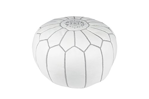 Casablanca Market Moroccan Embroidered Cotton Stuffed Leather Pouf/Ottoman, Gray on White