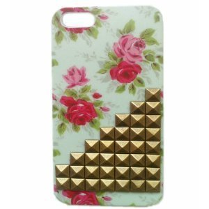 Coco Hand-made DIY Pyramid Punk Studs Mobile Phone Back Cover for iPhone 5 (Flowers shell Bronze ladder shape)
