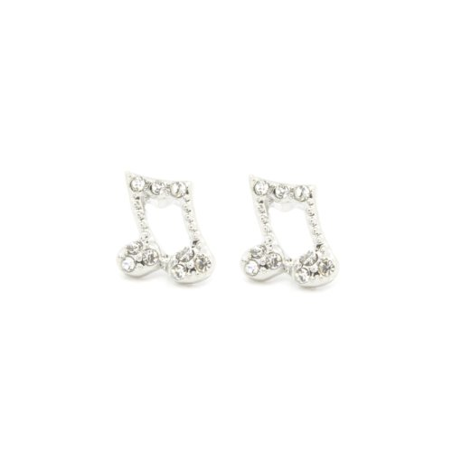 Mens & Lady 10Mm Silver Plated Music Note Quaver Shape With Clear Crystal Earrings Cz Hip Hop