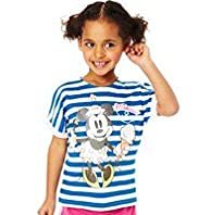 Limited Pure Cotton Minnie Mouse Sailor Striped T-Shirt