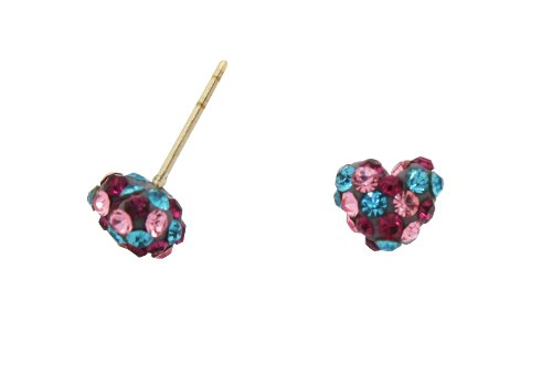 10K Gold Two-Tone Crystal Heart Stud Earrings
