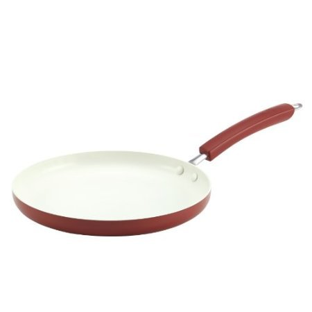 Paula Deen Savannah Collection Aluminum Nonstick Round Griddle, 10.5-Inch, Red front-621464