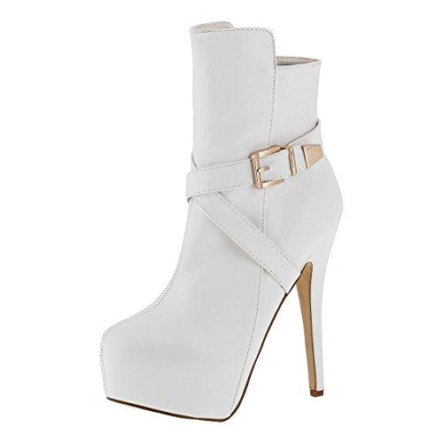 Sergio Todzi © Damenstiefel NEU Sexy Highheels Overknees Stiefeletten Boots Pumps Stiletto (40, Weiß)