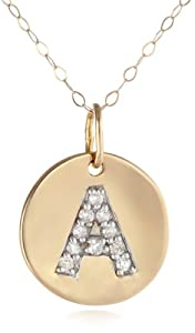 "Duragold 14k Yellow Gold Disc Diamond Initial ""A"" Pendant Necklace, 18"""