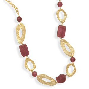 Hammered Gold Tone Dark Pink Acrylic Bead Fashion Necklace Adjustable - Made in the USA