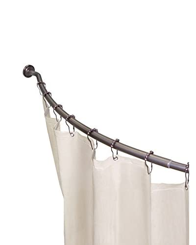 Elegant Home 3-in-1 Adjustable Curved Shower Rod Value Pack, Rubbed Bronze