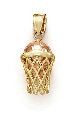 14k Two-Tone Basketball Hoop Pendant - JewelryWeb