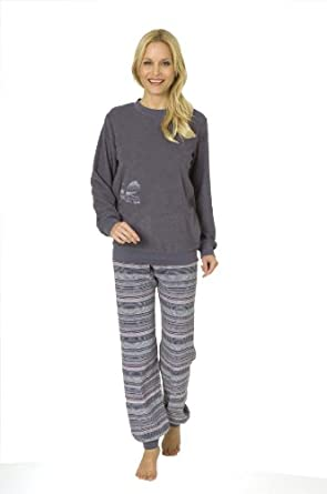 damen frottee pyjama von normann langarm rundhals ringel hose altlila 222930 gr xl 48 50. Black Bedroom Furniture Sets. Home Design Ideas