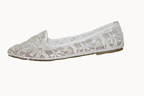 sommerlich transparente Ballerinas Brautschuh mit Spitzenstickerei offwhite (41) thumbnail