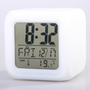 niceEshop Glowing LED Change 7 Color Digital Alarm Clock and Temp +Free niceEshop Cable Tie