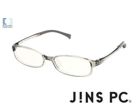 【JINS PC スクエア クリアレンズ】PC(ディスプレイ)専用メガネ (度なし) (GRAY)