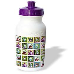 Lee Hiller Designs Colorful Sock Monkeys - Colorful Sock Monkeys Squares II - Water Bottles