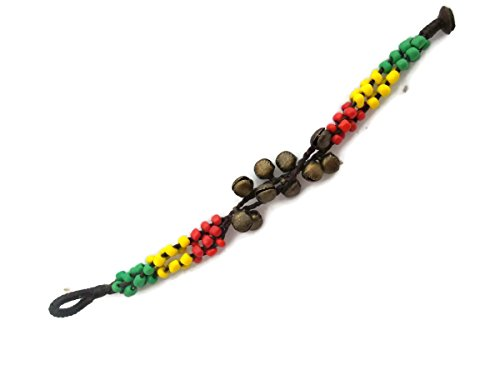 [by Angel 16- 18 cms or 6.5 - 7 inches Bracelet in Three Strings in Three Colors Beads Red, Green, Yellow with small] (Vegas Superstar Costumes)