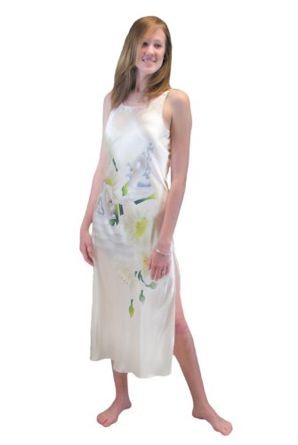 78a812dc22 White Silk Long Nightgown for Women - Swans and Daffodils (Large) - Women s  Silk