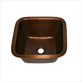 "Hammered Square 15"" x 15"" Bar Sink in Weathered Copper"