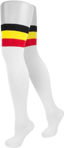 Overknees mit farbigem Piquebund geringelt aus Baumwolle mit Elasthan Größe Onesize Farbe Weiß mit Colorbund
