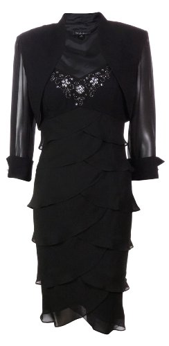S L Fashions Women's Legacy & Chiffon Jacket Dress (10, Black)