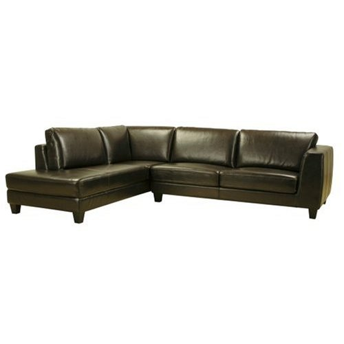 Wholesale Interiors Living Room Picture 2pc Leather Sectional Sofa and Chaise Set in Dark Brown