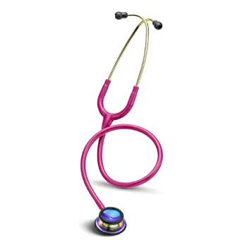 3M Littmann Classic II S.E. Stethoscope, Rainbow-Finish Chestpiece, Raspberry Tube, 28 inch, 2829RBW
