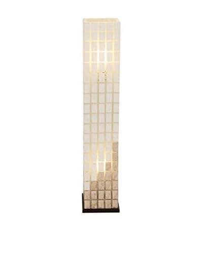 Metal Capiz Tower 2-Light Floor Lamp, Ivory/Brown