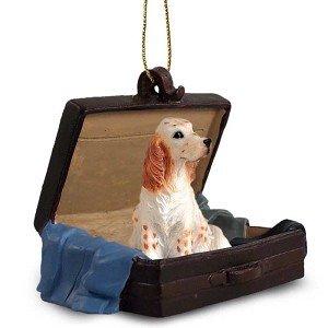 Orange Belton English Setter Traveling Companion Dog Ornament