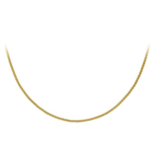 18k Yellow Gold Plated Sterling Silver Popcorn Chain Necklace, 36""