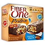 Fiber One Coconut Almond Chewy PROTEIN Bars Box of 5 Individually Wrapped Bars 5.85 Oz.- 2 Pack